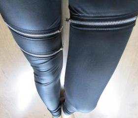 Leatherette Leggings with Zippers